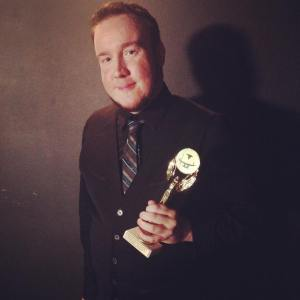 Alex after recieving Best Musical Direction for [Title of Show] at the Motif Magazine Theatre Awards, August 2015. Photo by Ashley Arnold.