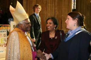 Alex Trenoweth meeting Desmond Tutu