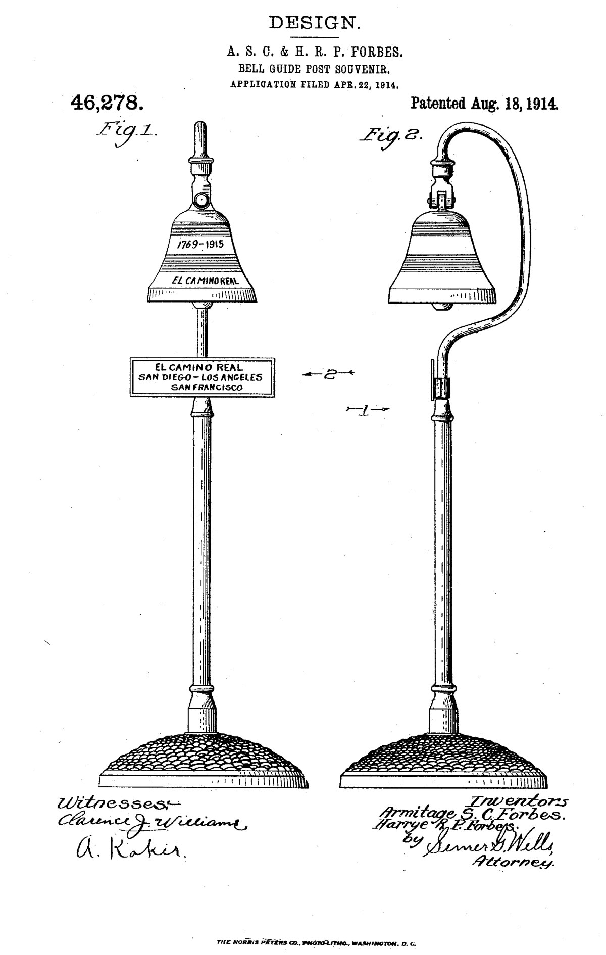 1914 Camino Real Bell Patent