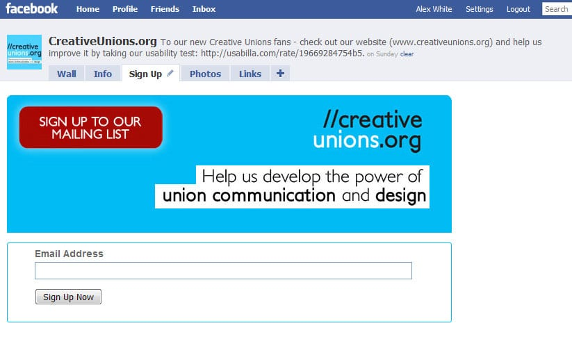 Use your union's Facebook page to build your email list | Alex White