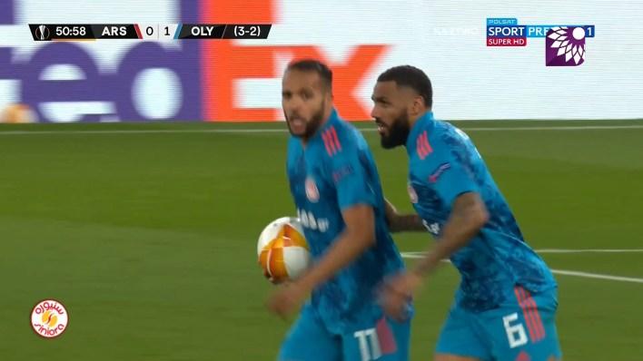 شاهد الهدف الاول ( 1-0 ) لصالح أولمبياكوس في شباك ارسنال