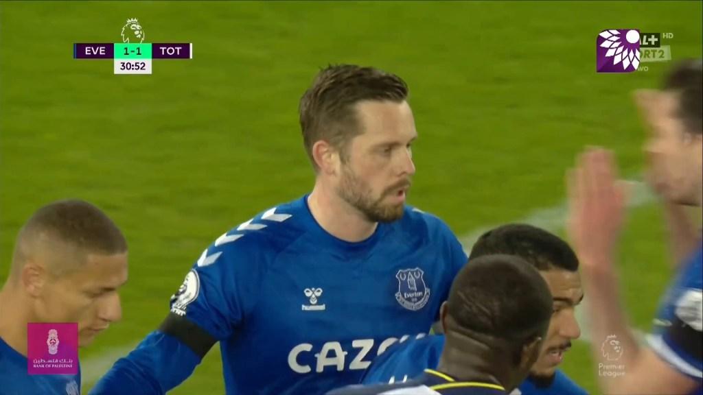شاهد هدف التعادل ( 1-1 ) لصالح إيفرتون في شباك توتنهام