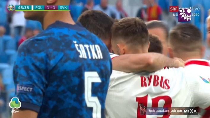 شاهد هدف التعادل (1 – 1) لصالح بولندا في شباك سلوفاكيا