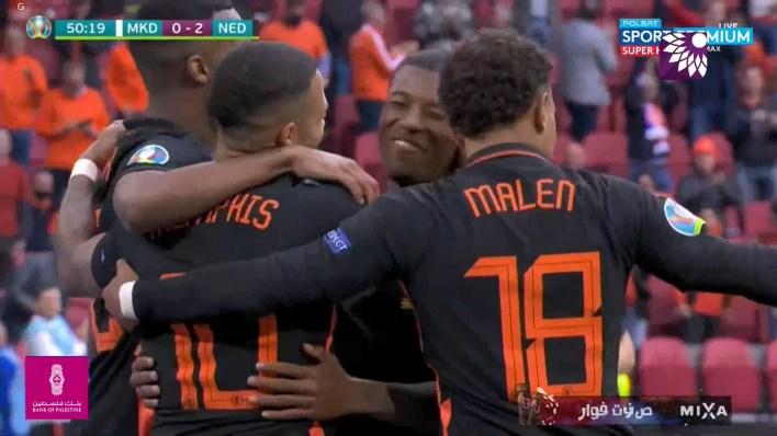 شاهد الهدف الثاني (2 – 0) لصالح هولندا شباك مقدونيا