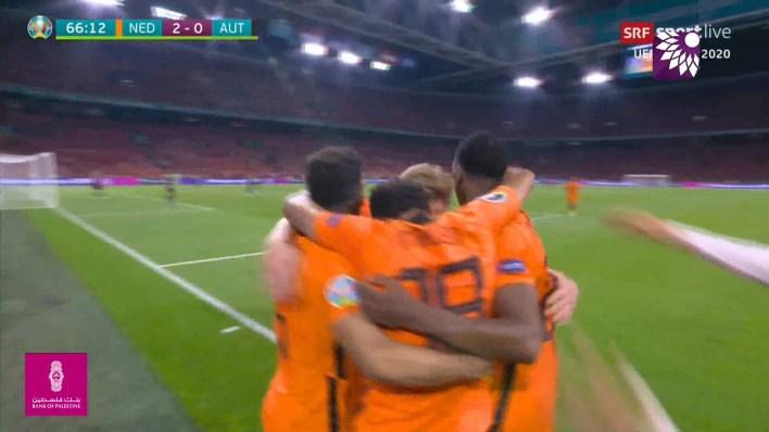 شاهد الهدف الثاني ( 2-0 ) لصالح هولندا في شباك النمسا