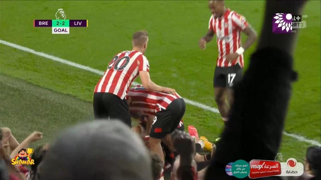 شاهد هدف التعادل الثاني (2-2) لصالح برينتفورد في شباك ليفربول
