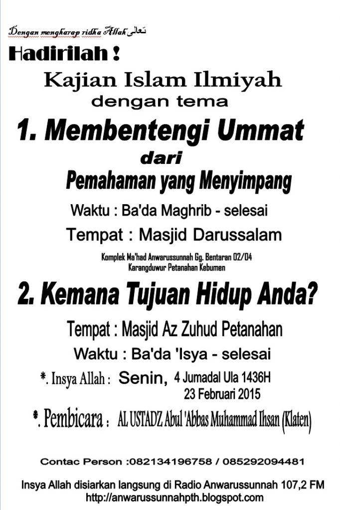 Informasi Kajian Petanahan 23 Februari 2015 Ust Ikhsan