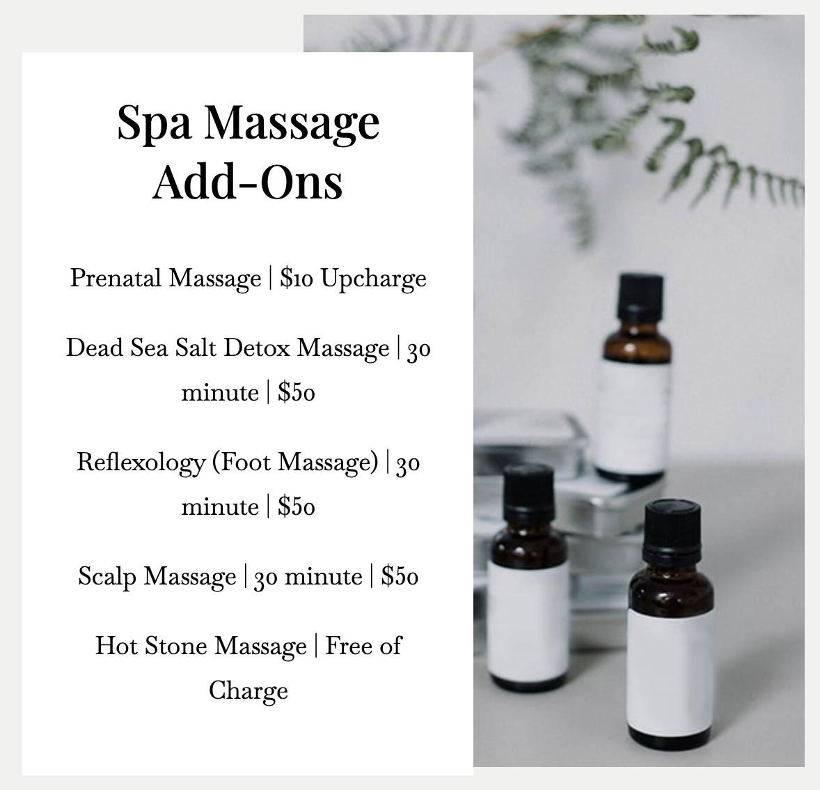 Massage price addon 2 in Vaughan
