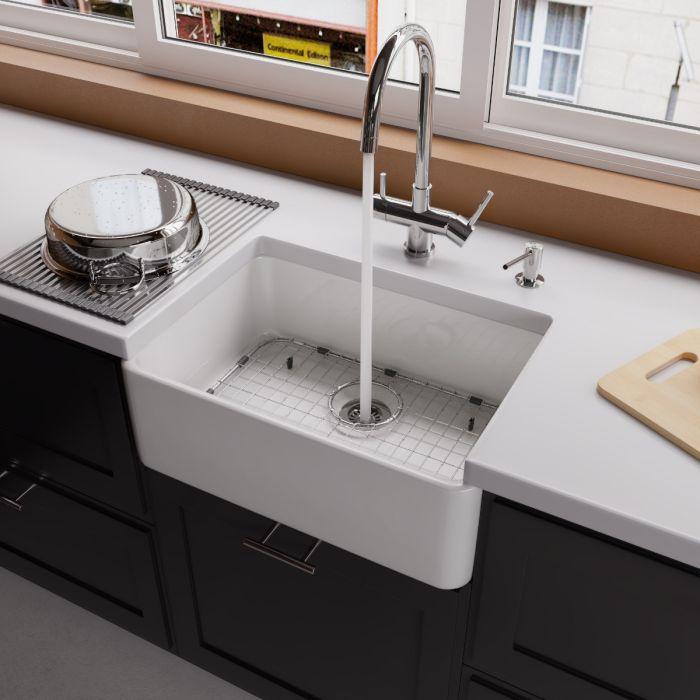 alfi brand ab503 fireclay 23 single bowl farmhouse apron kitchen sink