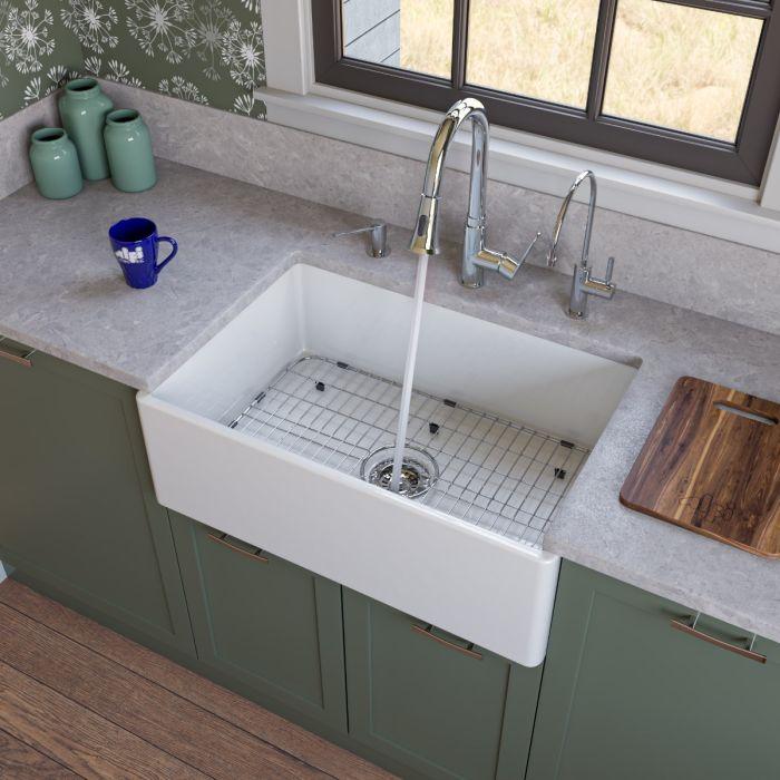 alfi brand ab510 single bowl smooth panel fireclay farmhouse kitchen sink