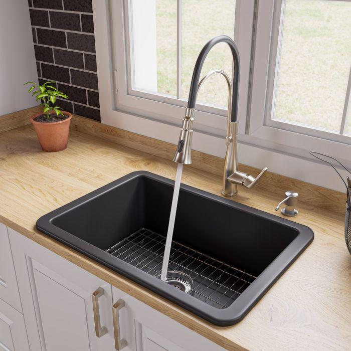 alfi brand abf2718ud 27 x 18 fireclay undermount drop in firelcay kitchen sink
