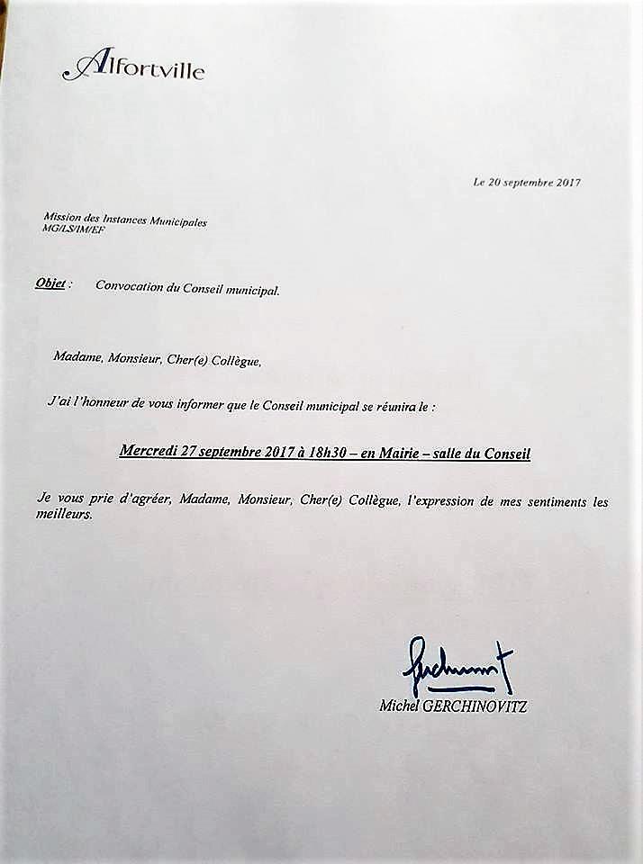 Conseil municipal Alfortville septembre 2017