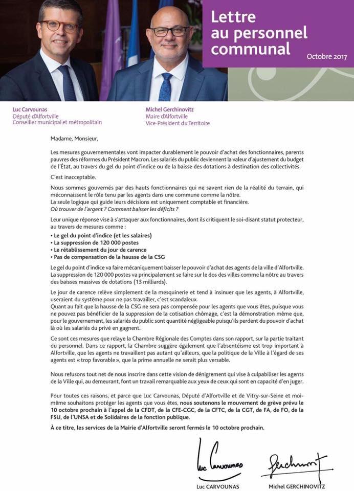 Lettre du Maire d'Alfortville au personnel communal grève Alfortville 10 octobre 2017
