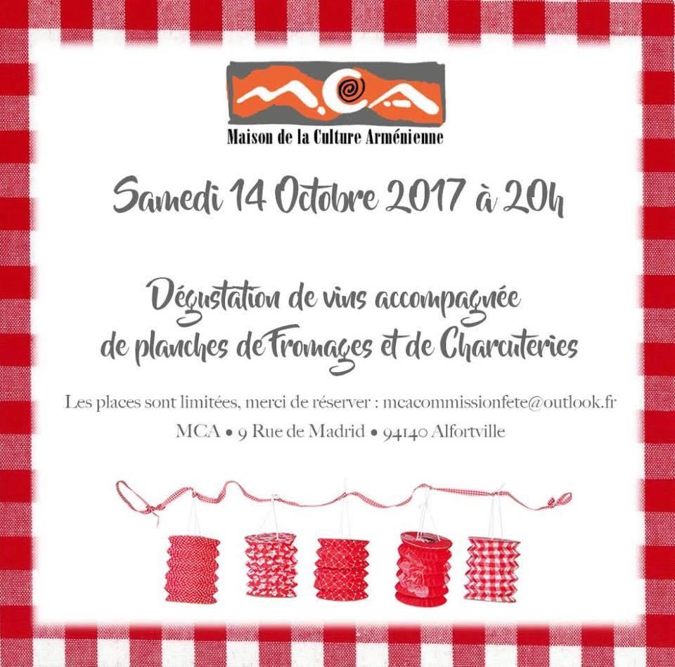 Maison Culture Arménienne Alfortville soirée dégustation vin fromages et charcuteries