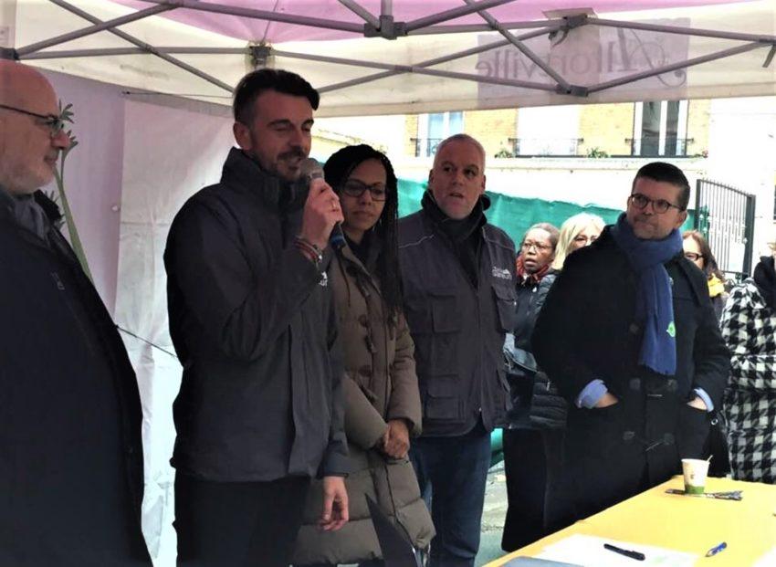 La Tente des Glaneurs Alfortville, inauguration en présence de Jean Loup Lemaire, Audrey Pulvar, Stéphane Exposito, du Député Luc Carvounas et du maire d'Alfortville Michel Gerchinovitch