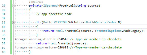 warning CS0618: 'Html.FromHtml(string)' is obsolete: 'deprecated'