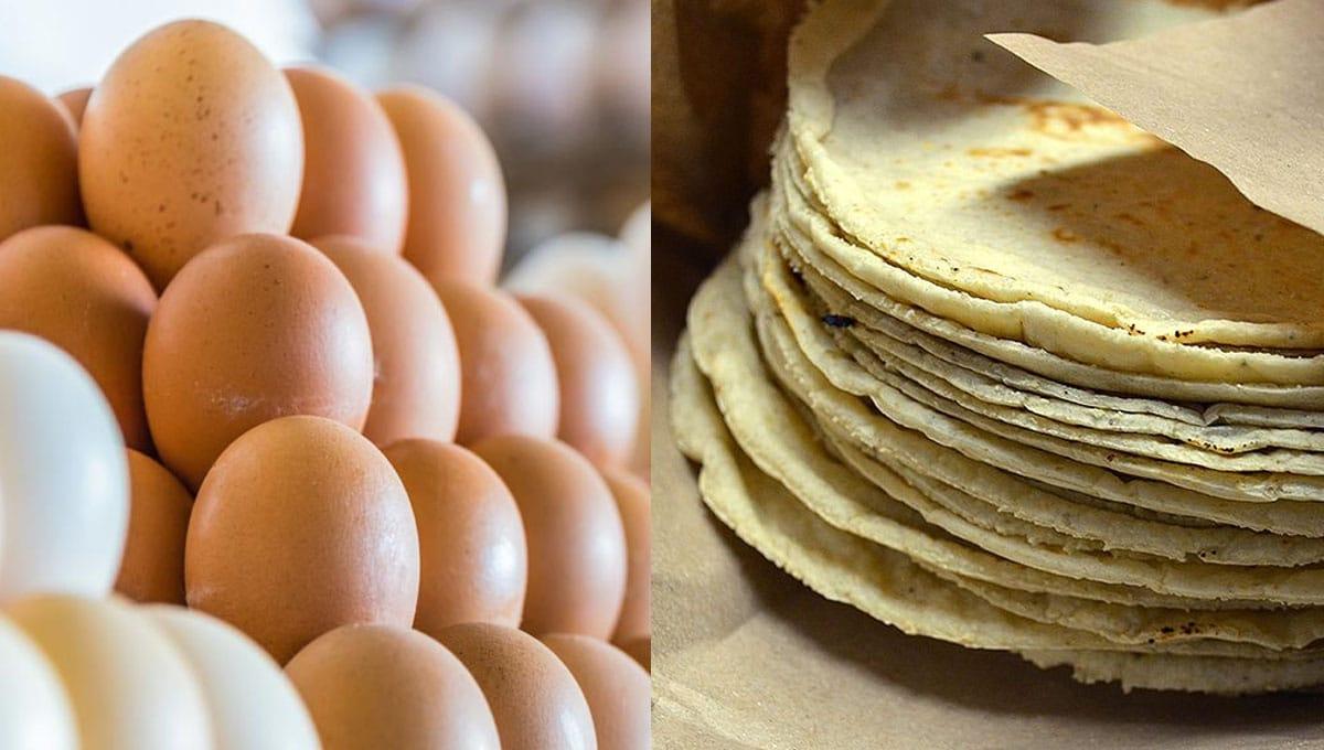Aumentan precios de huevo y tortilla en contingencia por coronavirus
