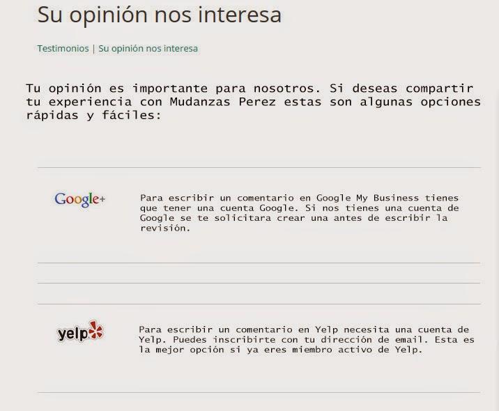 ejemplo pagina feedback reseñas