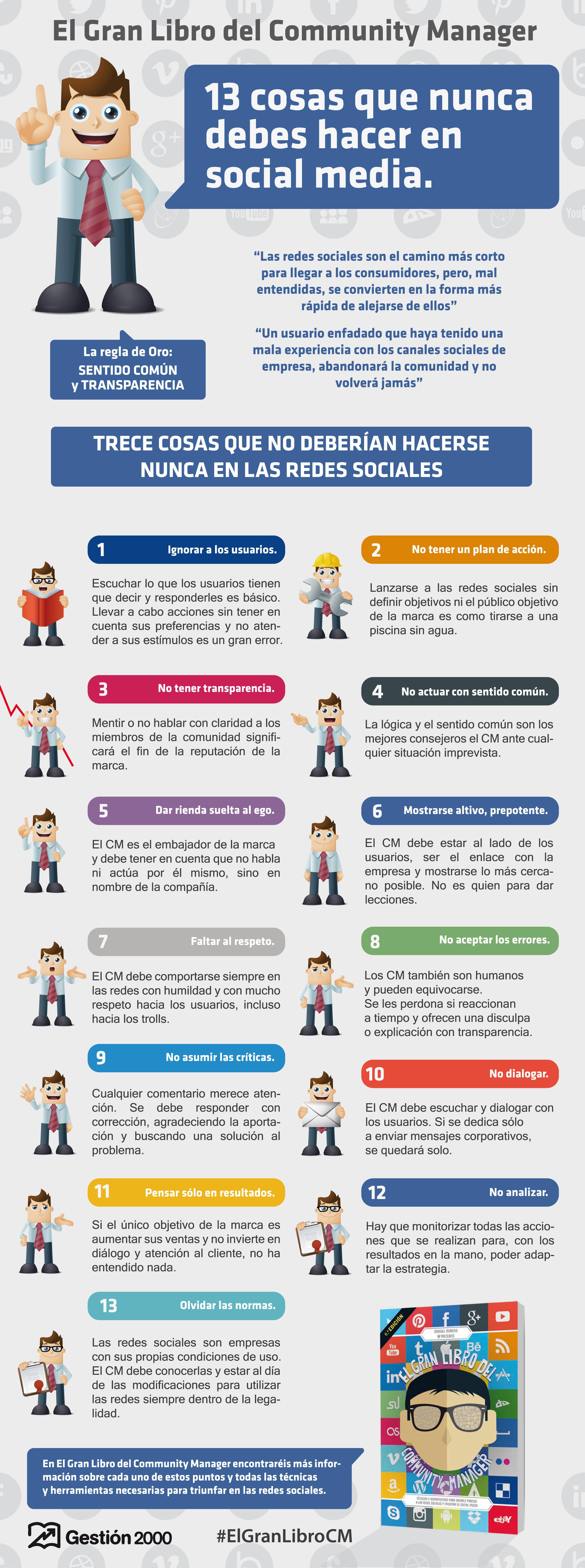 13 Cosas Que No Debes Hacer En Redes Sociales Infografia Infographic Socialmedia