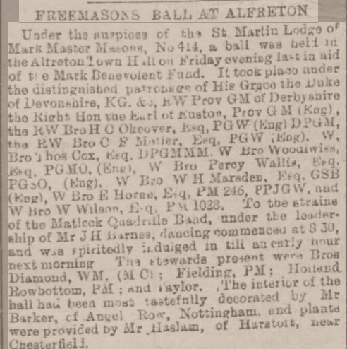 Alfretons Freemasons Ball 1895