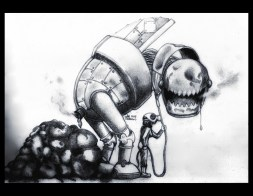 """Oops, my robot got to poop"" Alf Sukatmo. 2015. Charcoal and pencil on paper"