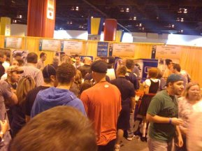 They're lined up for PBR, if you can believe it...or PBR swag, at least.