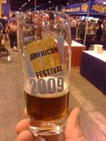 Upgraded from plastic to glass (contains the first beer of the day, Duck-Rabbit Wee Heavy from Farmville, NC)