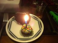 Cake, a fudge pop (with the candle), and a single malt as old as me...what else do you need?
