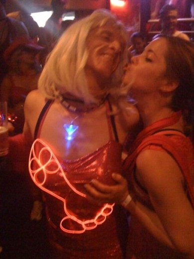 Check out the electroluminescent hash foot. Fake boobs provide a place to hide the power supply (having a harriette cop a feel was, I'm guessing, an added bonus).
