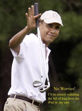 The only upside to his golfing is that while he's playing a round, he's not in a position to make things worse.