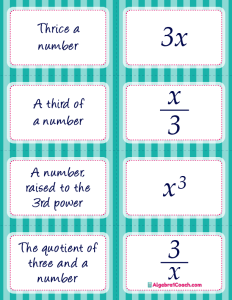 Translating Algebraic Expressions Card Matching Activity - Page 2