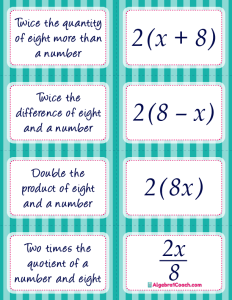 Translating Algebraic Expressions Card Matching Activity - Page 4