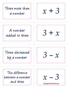 Translating Algebraic Expressions Game - Page 6
