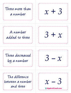 Translating Algebraic Expressions Game - Page 6