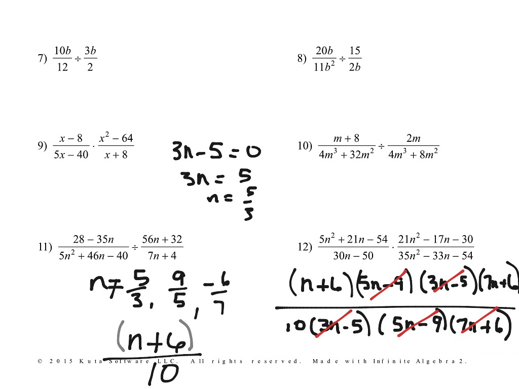 Multiplying And Dividing Rational Expressions Worksheet