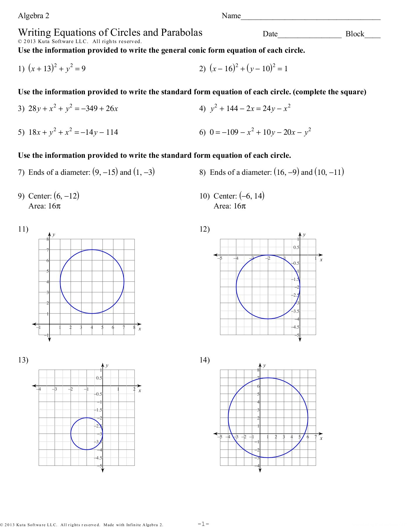 Algebra 2 Circles Worksheet