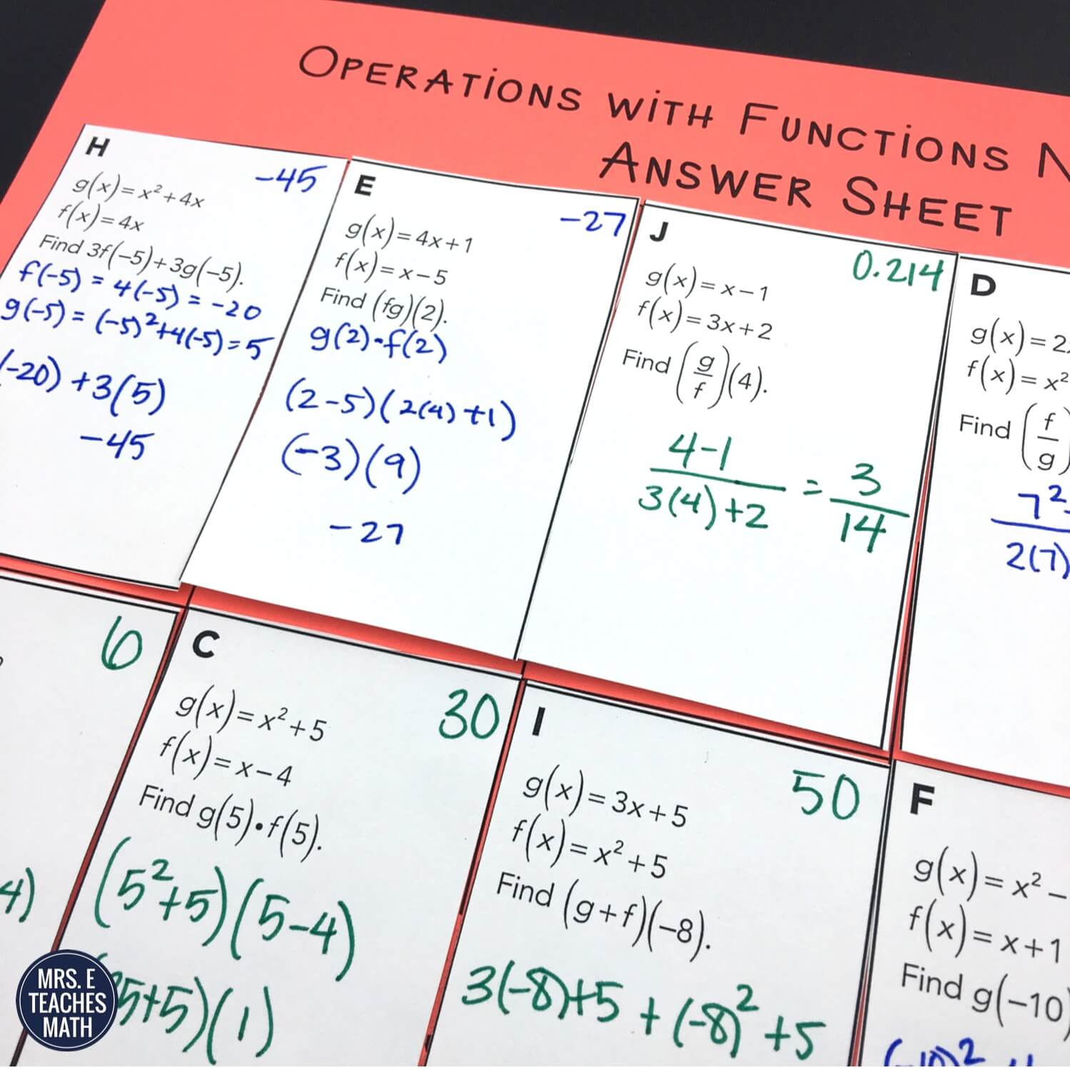 Algebra 2 Function Notation And Operations Worksheet