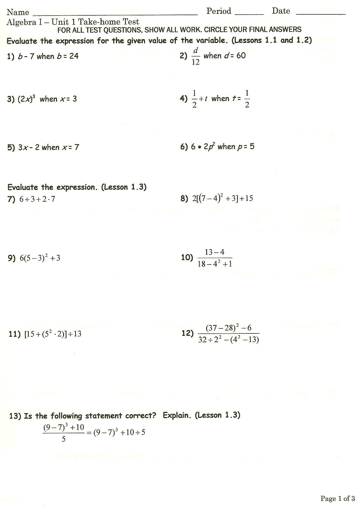 Algebra 2 Worksheets Chapter 1