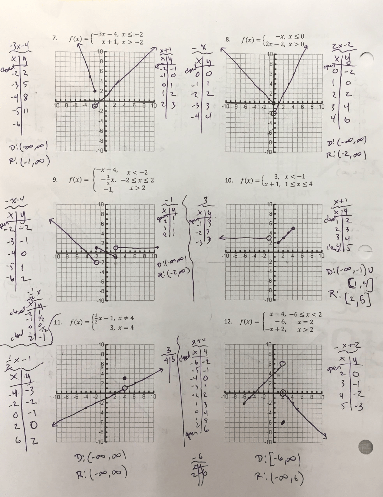 Algebra 2 Piecewise Functions Worksheet Answers