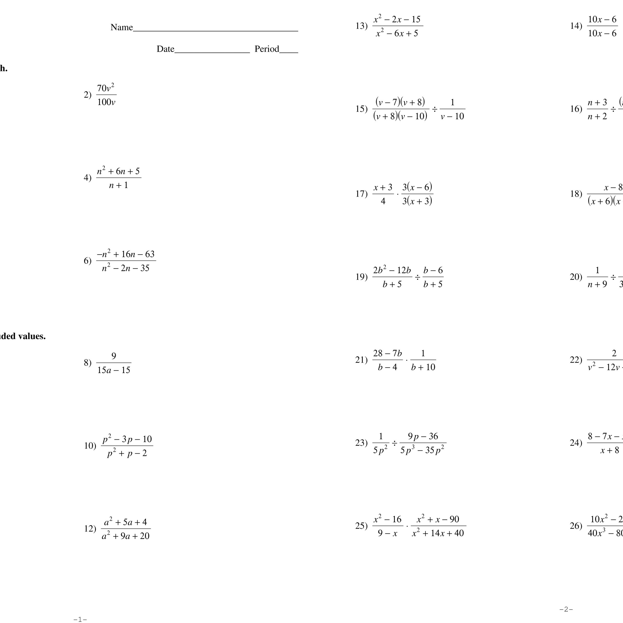 Algebra 2 Trigonometry Worksheet Answers