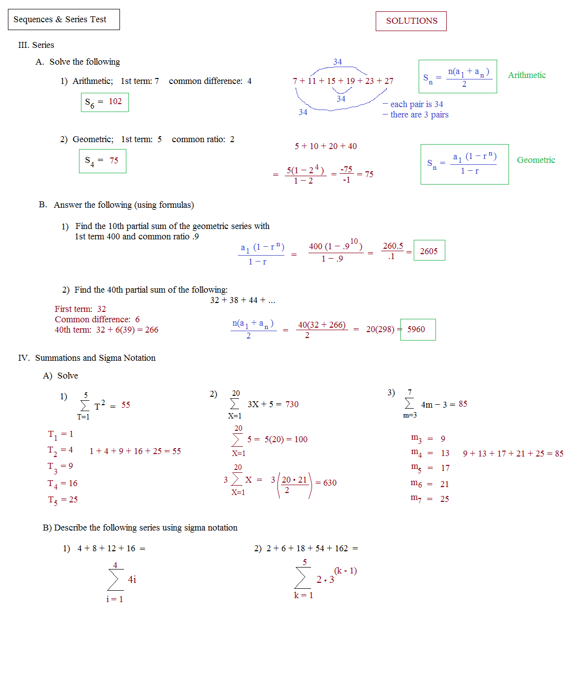 Algebra 2 Geometric Sequence Worksheet Answers