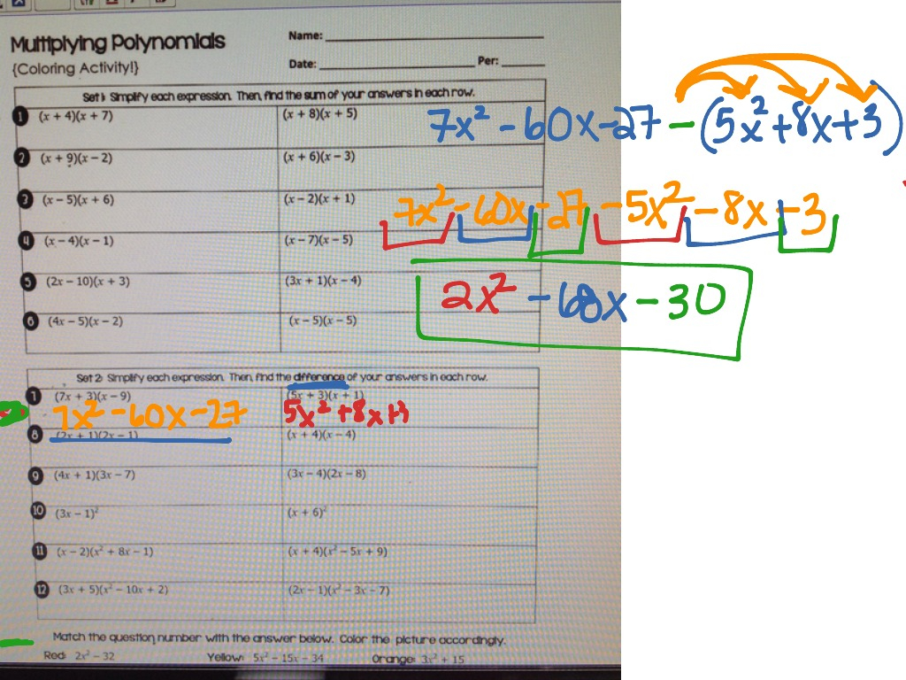 Algebra 1 Multiplying Polynomials Worksheet Answers