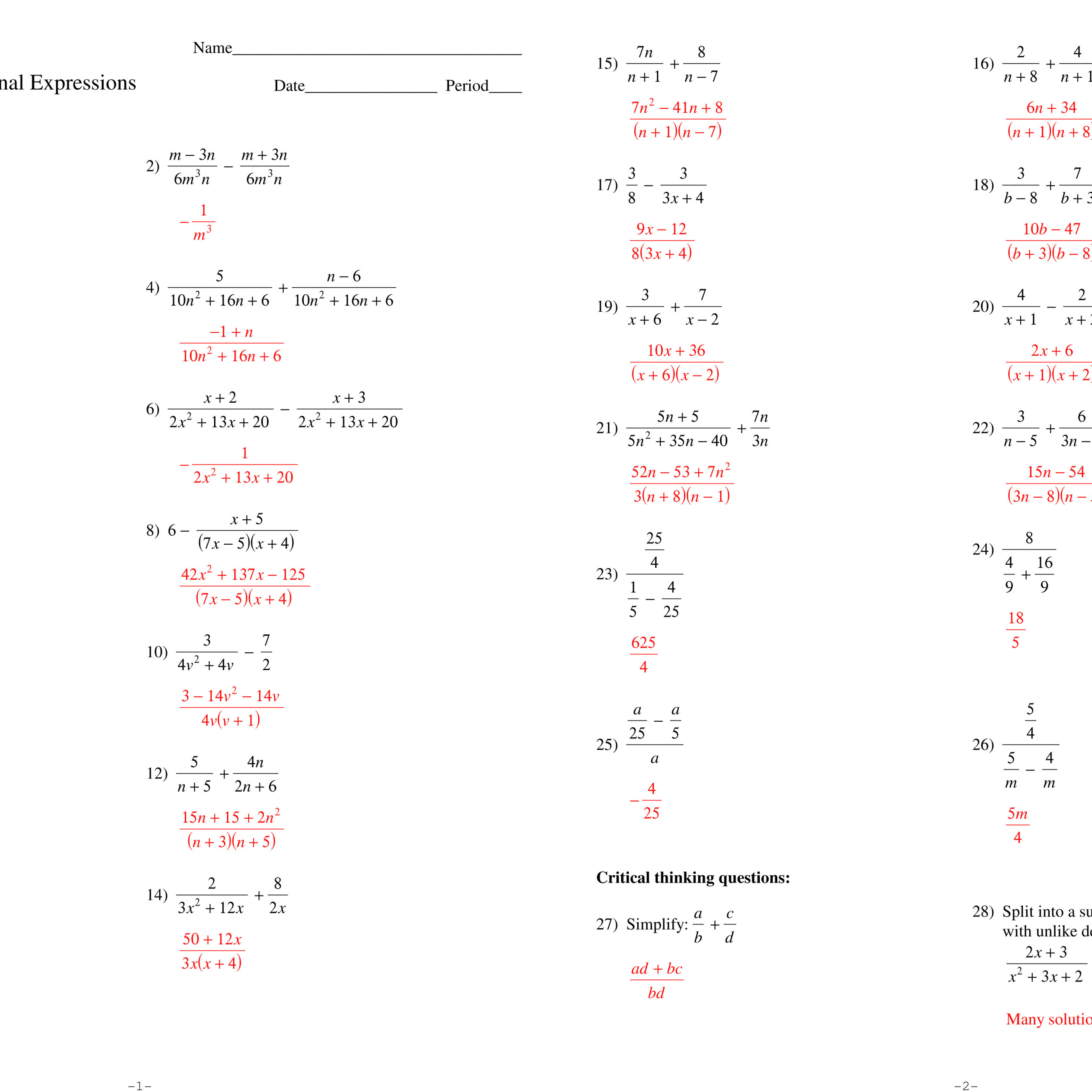 Algebra 2 Simplifying Rational Expressions Worksheet