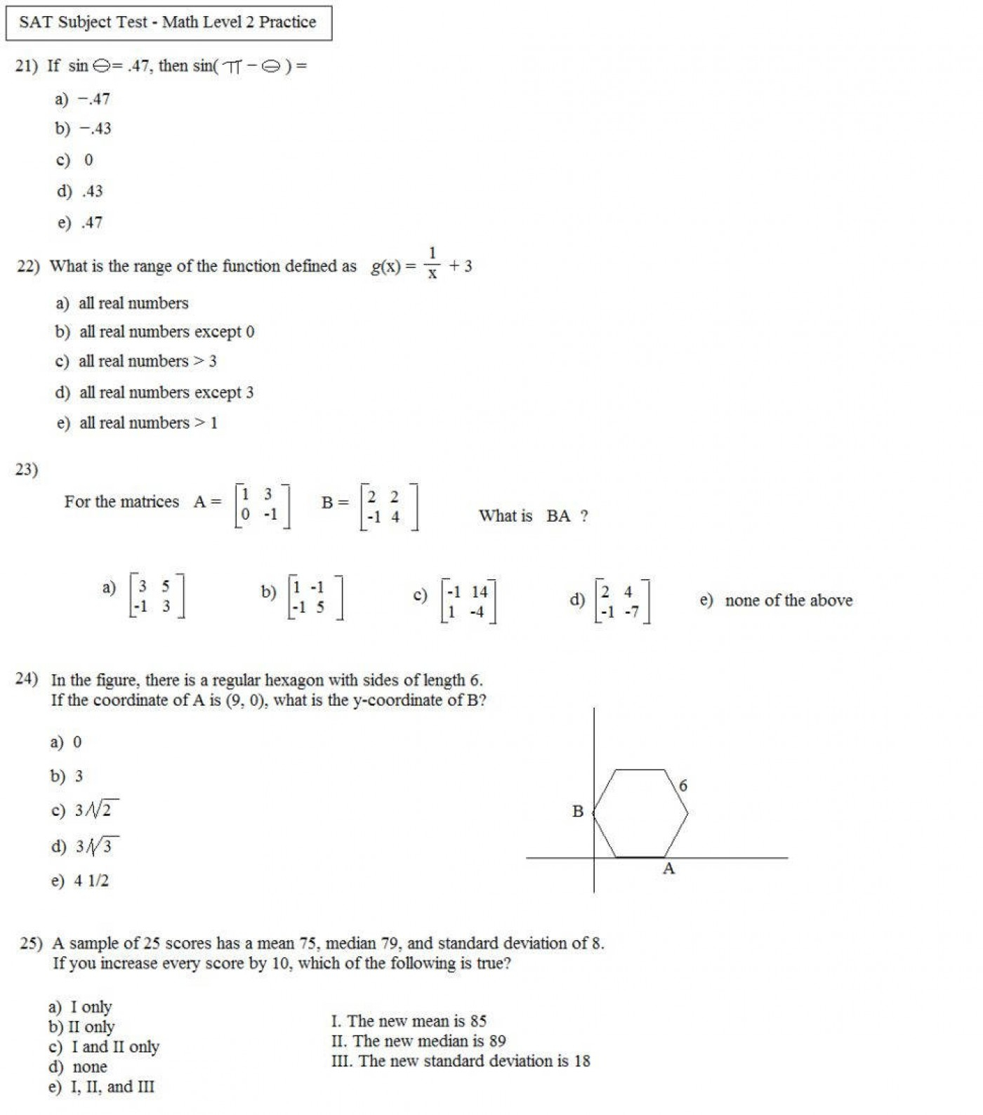 Algebra 2 Standard Deviation Worksheet