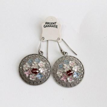 Boucles d'oreilles en argent coccinelle et fleurs