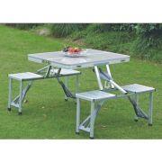 Table de pique-nique portable en aluminium avec 4 chaises