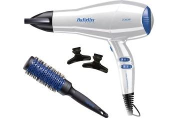 Sèche cheveux Balyliss 2000W Set brushing : Brosse ronde + pinces D413PE - SG