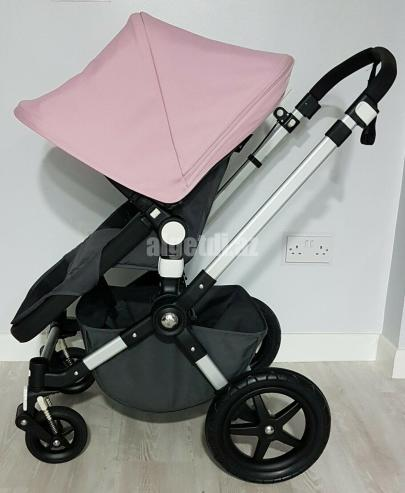 Bugaboo-Cameleon-3-pram-pushchair-full-travel-system-charcoal-grey-soft-pink.-3