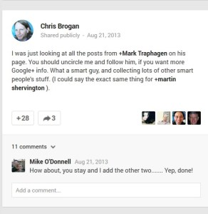 Chris Brogan calls Mark Traphagen THE Google+ expert