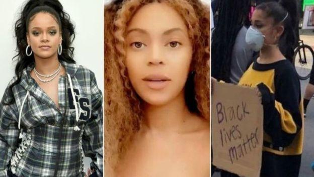دعت كل من بيونسيه وريهانا إلى العدالة من أجل جورج فلويد، فيما انضمت آريانا غراند للاحتجاجات في لوس أنجلس